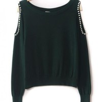 Beaded Strapless Green Sweater$39.00