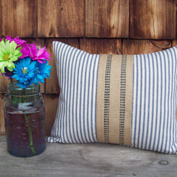Blue Ticking Pillow Cover with Jute Accent 12 x 16 - Decorative Pillow Cover - Other Colors Available