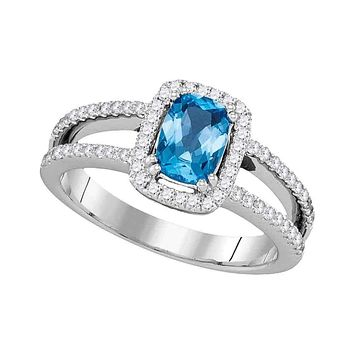 14kt White Gold Womens Oval Blue Topaz Solitaire Diamond-accent Ring 1-1-5 Cttw