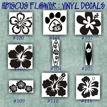HIBISCUS FLOWER vinyl decal | water bottle decal | car decals | car stickers | laptop sticker - 100-111