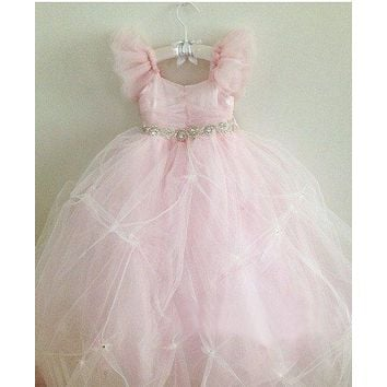 Abaowedding romantic frills straps light pink flower girl dresses bling beaded big bow long tulle puffy kids prom dress gown