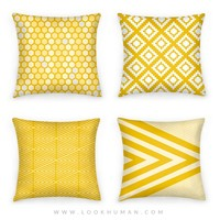 Large Yellow Geometric Diamond Pattern | Pillows and Pillow Cases