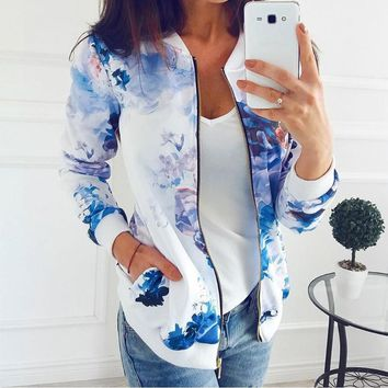 Bomber Jackets Women Zipper Casual Flower Print Baseball Basic Jacket Bomber Jackets Long Sleeve Lady Outwear Coat WS2030R