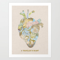 A Traveler's Heart Art Print by Bianca Green