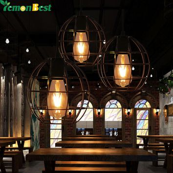 "Industrial Vintage Round Cage Pendant Light Sconce Hanging Droplight Lamp E27 Socket AC 85-240V Diameter 18cm/7.1"" Without bulb"