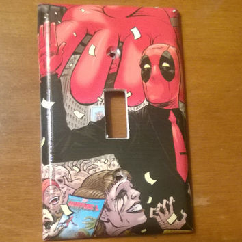 Comic Book decoupage light switch cover Deadpool