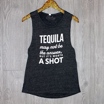 Tequila May Not Be the Answer Grey Tank Top