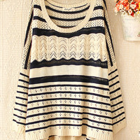 Hollow wave striped sweater JCFCJ