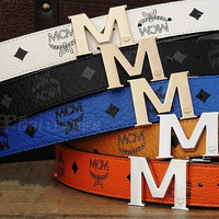 tourtownbeach : MCM Woman Fashion Smooth Buckle Belt Leather Belt H-A-GFPDPF