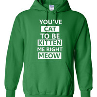 You've Cat To Be Kitten Me Right Meow Hilarious Printed Graphic Hoodie Great Gift Cat Lovers Cat Hooded Sweatshirt Unisex