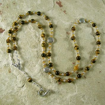 Heimdall Prayer Bead Necklace in Tiger Eye: Norse God, Guardian of Bifrost, the Rainbow Bridge