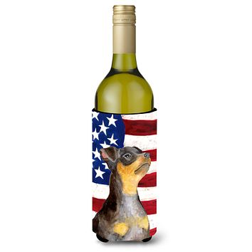 Miniature Pinscher #2 Patriotic Wine Bottle Beverge Insulator Hugger BB9724LITERK