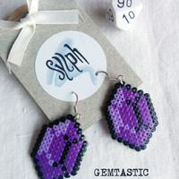 Deep purple 8bit Zelda game inspired Gemtastic  jewel earrings for gamer girls made of Hama Mini Perler Beads