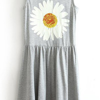 Grey Daisy-pattern Ruched Dress