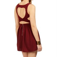 Burgundy Heart Shape Open Back Dress