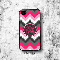 Hot Pink Gray Iphone case - Chevron Iphone case - Personalized Monogram Iphone 4, 4S, 5, 5s, 5c & Galaxy S3, S4 case (1100)