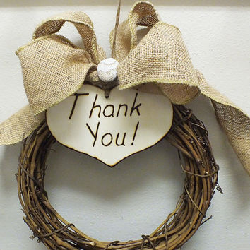 Rustic wedding thank you sign with burlap bow and lace accent