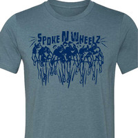 """Bicycle T-Shirt -Road Bicycle T-Shirt-""""Peloton"""" in Heather Slate Blue-Bike Gift"""
