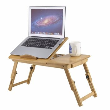 Portable Folding Bamboo Laptop Desk Table Sofa Bed Office Laptop Stand Desk Computer Notebook Bed Table