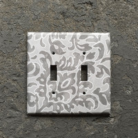 Double light switchplate cover - Decorative grey / gray & white switch plate. 2 gang 2 toggle wall plate. floral, Home decor, bedroom