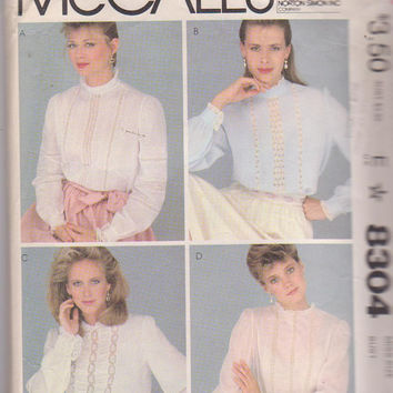 Vintage 1980s Becky Summers pattern for Victorian style, long sleeved, lace embellished blouse misses size 14 McCall's 8304 CUT and COMPLETE