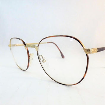 Womens Round Eyeglasses, Tortoise Shell and Gold Metal Eyeglasses, Flexible Temple Arms, Steampunk Glasses, Vintage New old Stock
