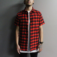 Freddy Shortsleeve Flannel (Red/Black)