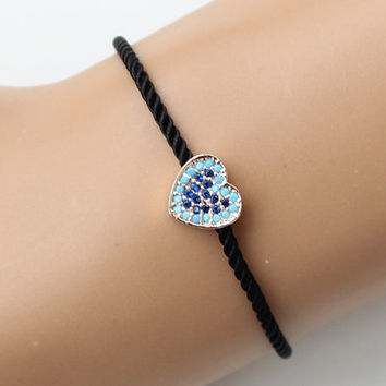 Heart bracelet, turquoise heart, zircon bracelet, black cord bracelet, fashion jewelry, style, adjustable bracelet, christmas gift