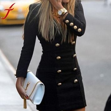 Swagger Dynasty New Black Dress Fashion Lady Slim Casual Long Sleeve Buttons Cocktail
