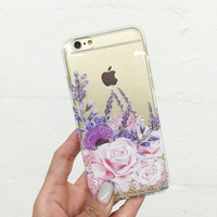 Purple Botanica - Clear TPU Case Cover FOR iphone 7,iphone 7 Plus 6S 6 -0324