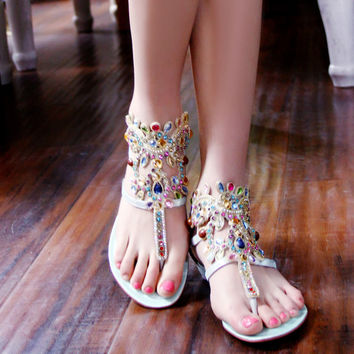 Bohemia Style Rhinestone Genuine Leather Flip Flops Sandals 1757