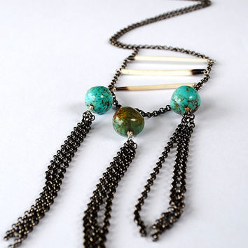 Long Turquoise Necklace Porcupine quill and by StoneznStix on Etsy