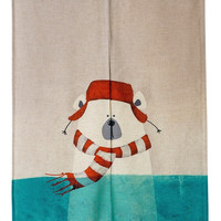 "Japanese Noren Doorway Curtain Tapestry 33.5"" Width x 47.2"" Long, Chilly Polar Bear in Winter"