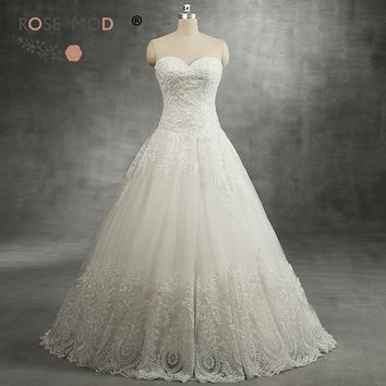 Rose Moda Delicate Lace Ball Gown Sweetheart Neck Drop Waist Lace Wedding Dress No Train Real Photos