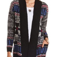 Open Front Aztec Cardigan Sweater by Charlotte Russe - Black Combo