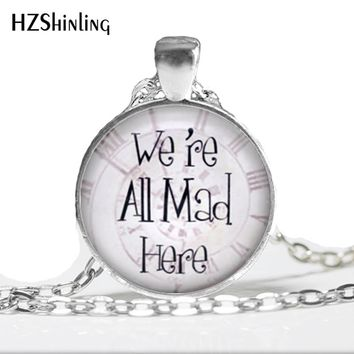 Fashion Necklaces For Women 2014 Vintage We're All Mad Here Necklace, Spiral Clock Background, Alice in Wonderland Necklace HZ1