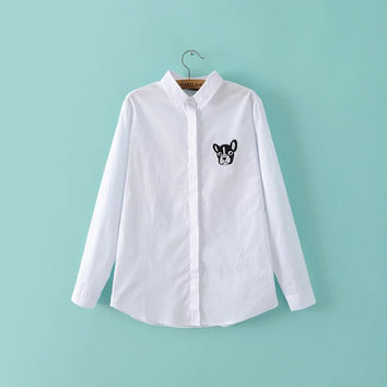 Autumn Embroidery White Long Sleeve Shirt [6332330756]
