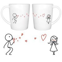 "Amazon.com: BoldLoft ""From My Heart to Yours"" Couple Coffee Mugs-Romantic Valentine's Day Gifts for Couples,Cute Valentines Gifts for Him or Her,Romantic Anniversary Gifts: Kitchen & Dining"
