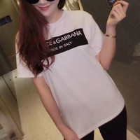 """Dolce & Gabbana"" Women Simple Casual Letter Print Short Sleeve Round Neck T-shirt Top Tee"
