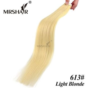 """MRSHAIR 613# Tape Weft Human Hair Extensions 20pcs Light Blonde Skin Weft Hair On Adhesive Tape In Hair 16"""" 18"""" 20"""" 22"""" 24"""""""