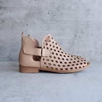 musse & cloud - caila leather perforated festival ankle booties - taupe