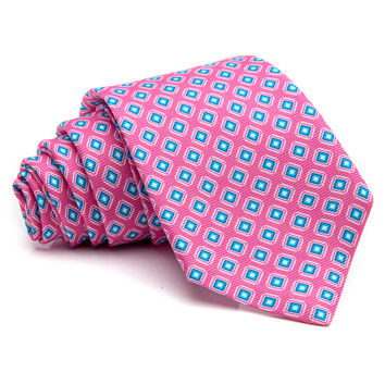 Kiton Pink with Blue Diamonds Tie