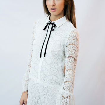 """Victoria"" White Lace Drop Waist Dress"