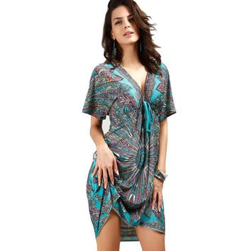 Kleider Women V sexy soft milk silk Boho print midi tribal dresses 2017 summer Ethnic casual loose waist Beach Dress