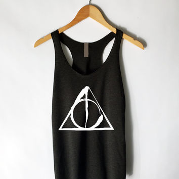 Deathly Hallows Symbol Tank Top in Black