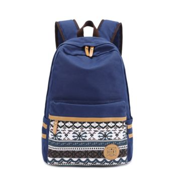 Navy Blue Daypack Aztec Canvas Casual Backpack Travel Bag