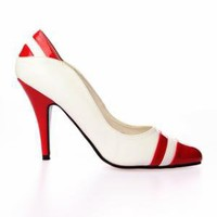 Pleaser Vanity Heel Shoe - Red/ White - Punk.com