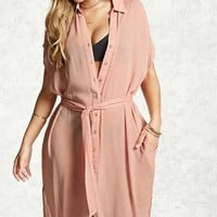 Draped Cover-Up Shirt Dress