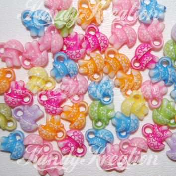 100 Mushroom charms for Pony beads Kandi kid Kandy Rave Raver craft Hippie peace bracelets necklaces earrings plur