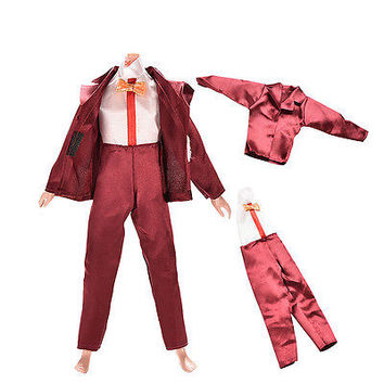 2 Pcs/Set Cool Suit Set Wine Red Casual Clothes for Doll Barbie Ken Dress H9
